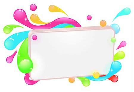 A modern funky colorful sign with swirls and droplets round the frame. Stock Photo - Budget Royalty-Free & Subscription, Code: 400-05382199