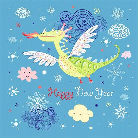 Bright greeting card with a green dragon on a blue sky with snowflakes Stock Photo - Budget Royalty-Free & Subscription, Code: 400-05382510