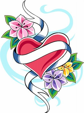 classic heart flower emblem tattoo Stock Photo - Budget Royalty-Free & Subscription, Code: 400-05382865