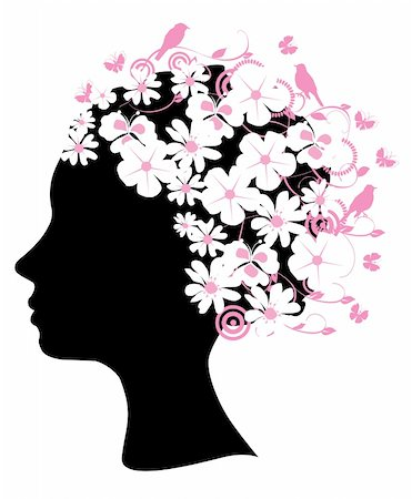 female lips drawing - Vector illustration of a floral head silhouette Stock Photo - Budget Royalty-Free & Subscription, Code: 400-05664175