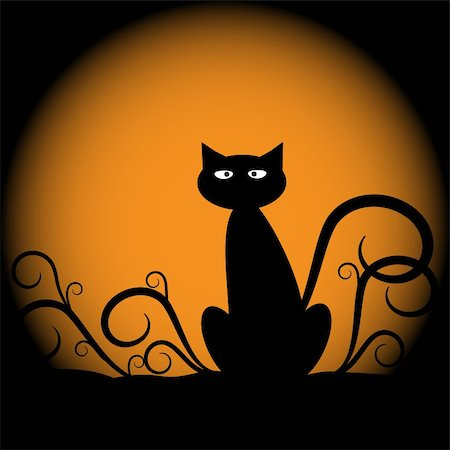 Spooky scary halloween cat with moon Stock Photo - Budget Royalty-Free & Subscription, Code: 400-05664500
