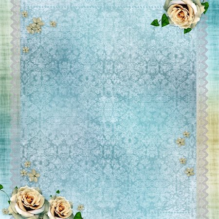 wedding background with lace and beige roses Stock Photo - Budget Royalty-Free & Subscription, Code: 400-05664543