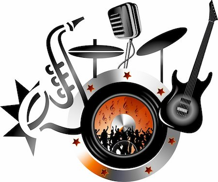 Illustration art of orchestra logo with isolated background Stock Photo - Budget Royalty-Free & Subscription, Code: 400-05664783