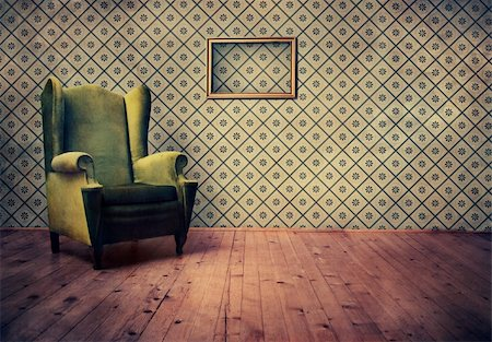 Vintage room with wallpaper and old fashioned armchair Stock Photo - Budget Royalty-Free & Subscription, Code: 400-05668063