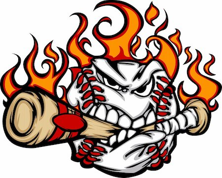 Flaming Baseball Ball Face Biting Bat Illustration Vector Stock Photo - Budget Royalty-Free & Subscription, Code: 400-05669553