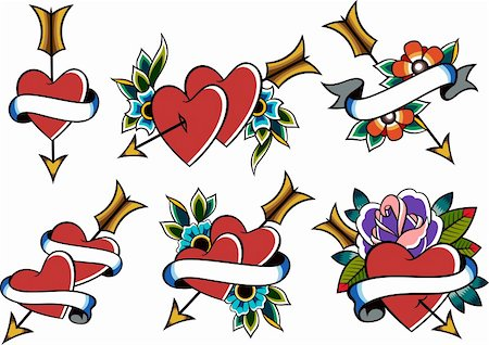 classic vintage heart tattoo Stock Photo - Budget Royalty-Free & Subscription, Code: 400-05669563