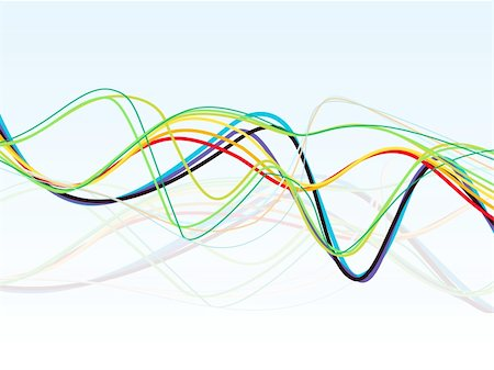 abstract colorful line wave vector illustration Stock Photo - Budget Royalty-Free & Subscription, Code: 400-05669915