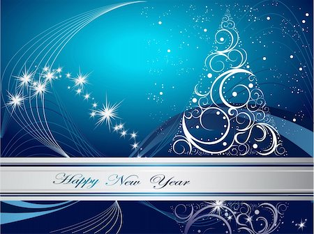 silver box - Silver  and blue Happy New Year  background Stock Photo - Budget Royalty-Free & Subscription, Code: 400-05663107