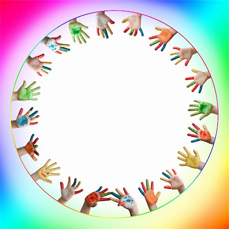 fun happy colorful background images - Painted colorful hands . Circle frame with hands Stock Photo - Budget Royalty-Free & Subscription, Code: 400-05674118