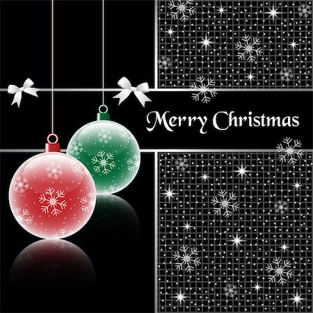 Christmas balls, red and green on black background, decorated with snowflakes, stars, snow and bows. Stock Photo - Budget Royalty-Free & Subscription, Code: 400-05674318