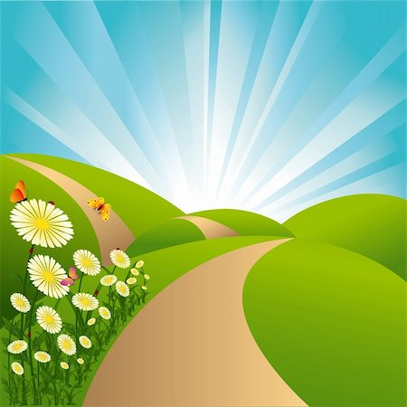 road landscape - Spring landscape green fields blue sky flowers and butterflies Stock Photo - Budget Royalty-Free & Subscription, Code: 400-05674350