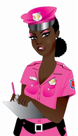 female police officer happy - Vector Illustration of a Pink Police Woman 1. Stock Photo - Budget Royalty-Free & Subscription, Code: 400-05674384