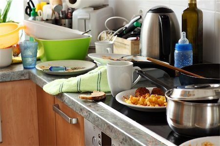Pile of dirty dishes in the kitchen - Compulsive Hoarding Syndrom Stock Photo - Budget Royalty-Free & Subscription, Code: 400-05674560
