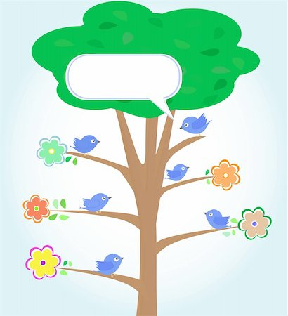 Greeting card with blue birds under tree vector Stock Photo - Budget Royalty-Free & Subscription, Code: 400-05675244