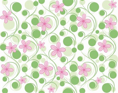 funky flower designs - Pink vector seamless flower background pattern, floral fabric vintage wallpaper. Cute backdrop. Stock Photo - Budget Royalty-Free & Subscription, Code: 400-05675398