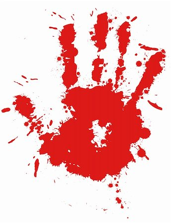 dripping blood illustration - Red drop ink splatter hand print, blood splash vector. Gloss brush paint spot, grunge blot, art blob, oil, abstract droplet. Splat, liquid illustration. Stock Photo - Budget Royalty-Free & Subscription, Code: 400-05675404
