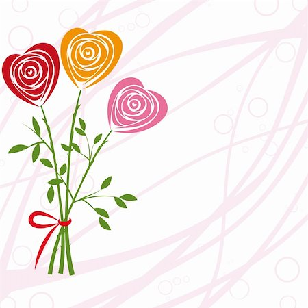 Art vector heart, rose invitation. Flower background. Floral design. Pretty cute illustration. Stock Photo - Budget Royalty-Free & Subscription, Code: 400-05675405