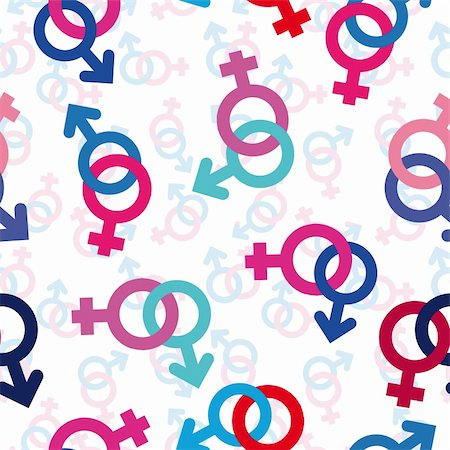Vector seamless gender background. Male, female symbol pattern. Stock Photo - Budget Royalty-Free & Subscription, Code: 400-05675406