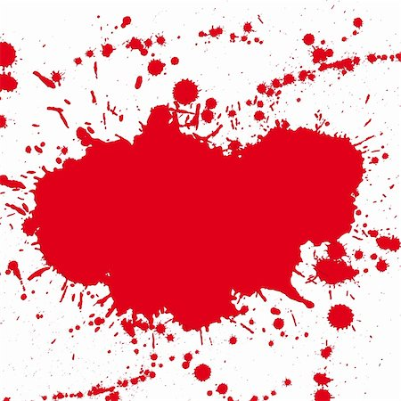 dripping blood - Red drop ink splatter, blood splash vector. Gloss brush paint spot, grunge blot, art blob, oil, abstract droplet. Splat, liquid illustration. Space for text. Stock Photo - Budget Royalty-Free & Subscription, Code: 400-05675402