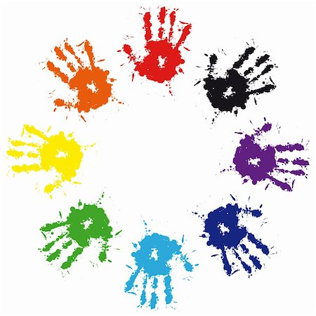 Print of hand from ink colorful splash. Vector grunge illustration of hand of child,  cute teamwork background Stock Photo - Budget Royalty-Free & Subscription, Code: 400-05675413