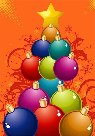 filigree tree - Christmas Tree of the balls, element for design, vector illustration Stock Photo - Budget Royalty-Free & Subscription, Code: 400-05676734