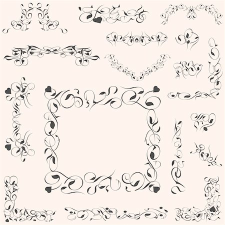 filigree - set calligraphic vintage design elements and page decoration vector Stock Photo - Budget Royalty-Free & Subscription, Code: 400-05676790