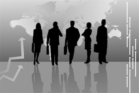 Illustration of Silhouettes with World Map Stock Photo - Budget Royalty-Free & Subscription, Code: 400-05677396