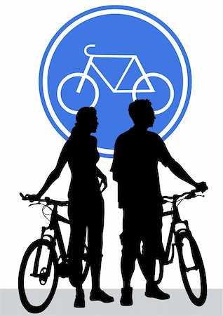 Vector drawing silhouette of a cyclist boy and girl Stock Photo - Budget Royalty-Free & Subscription, Code: 400-05677485