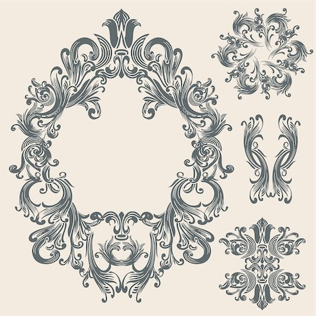 filigree - floral ornaments set 02 Stock Photo - Budget Royalty-Free & Subscription, Code: 400-05678291