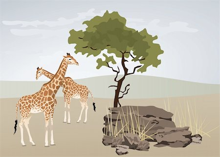 Giraffe illustration with wild landscape of Africa Stock Photo - Budget Royalty-Free & Subscription, Code: 400-05678615