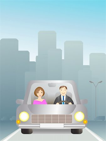 Cute man and woman in car on the road Stock Photo - Budget Royalty-Free & Subscription, Code: 400-05678623