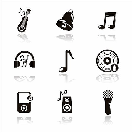 set of 9 black musical icons Stock Photo - Budget Royalty-Free & Subscription, Code: 400-05679330