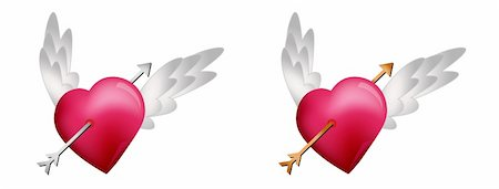 flying hearts clip art - Flying Hearts with Arrows isolated on white background Stock Photo - Budget Royalty-Free & Subscription, Code: 400-05679449