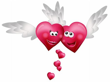 flying hearts clip art - Flying Hearts in Love isolated on white background Stock Photo - Budget Royalty-Free & Subscription, Code: 400-05679451