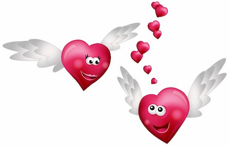 flying hearts clip art - Flying Hearts in Love isolated on white background Stock Photo - Budget Royalty-Free & Subscription, Code: 400-05679453
