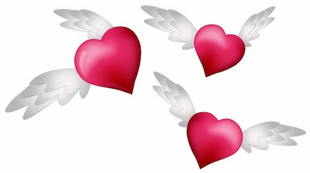 flying hearts clip art - Flying Hearts isolated on white background Stock Photo - Budget Royalty-Free & Subscription, Code: 400-05679467