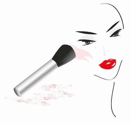Face Sketch with Make Up isolated on white background Stock Photo - Budget Royalty-Free & Subscription, Code: 400-05679557
