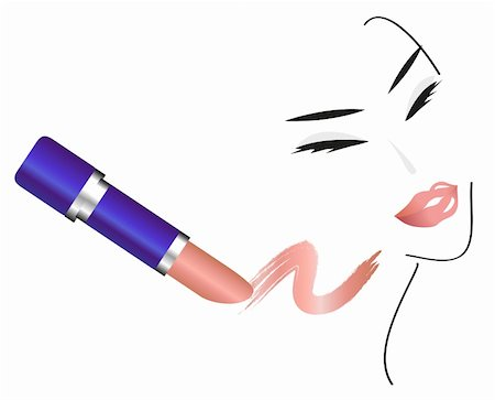 female lips drawing - Face Sketch with Make Up isolated on white background Stock Photo - Budget Royalty-Free & Subscription, Code: 400-05679558