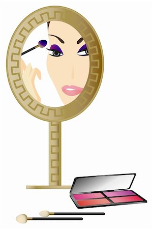 face woman beautiful clipart - Woman in the Mirror with make up accessories Stock Photo - Budget Royalty-Free & Subscription, Code: 400-05679598