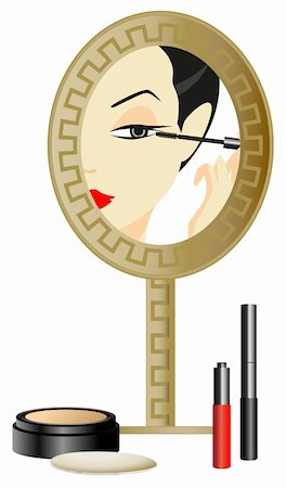face woman beautiful clipart - Woman in the Mirror with make up accessories Stock Photo - Budget Royalty-Free & Subscription, Code: 400-05679602