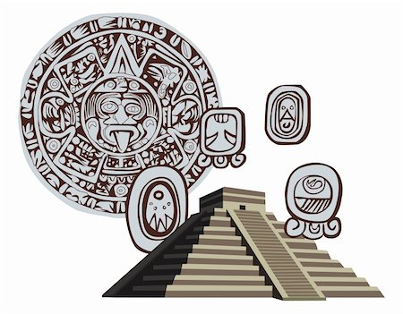 Illustration with Mayan Pyramid and ancient glyphs Stock Photo - Budget Royalty-Free & Subscription, Code: 400-05679668
