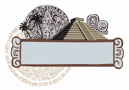 Illustrations with Mayan Pyramid and ancient glyphs Stock Photo - Budget Royalty-Free & Subscription, Code: 400-05679660