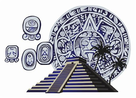Illustration with Mayan Pyramid and ancient glyphs Stock Photo - Budget Royalty-Free & Subscription, Code: 400-05679670