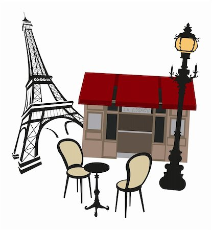 Eiffel tower, street lights and cafe Stock Photo - Budget Royalty-Free & Subscription, Code: 400-05679896