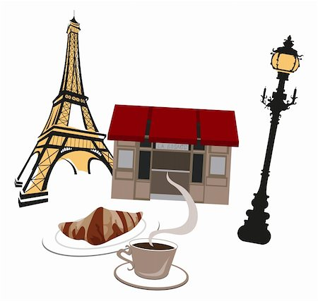Eiffel tower, street lights and cafe Stock Photo - Budget Royalty-Free & Subscription, Code: 400-05679897