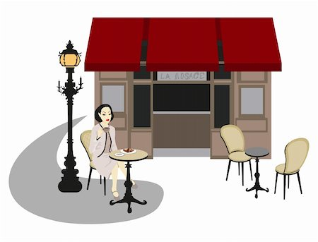Woman sitting outside a cafe Stock Photo - Budget Royalty-Free & Subscription, Code: 400-05679891