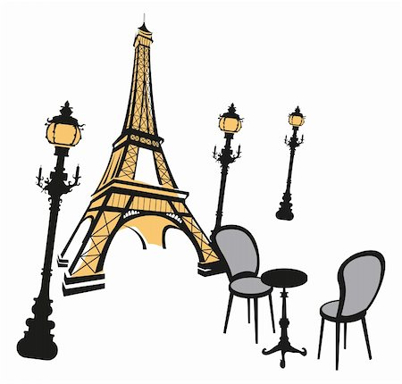 Eiffel tower, street lights and cafe Stock Photo - Budget Royalty-Free & Subscription, Code: 400-05679893