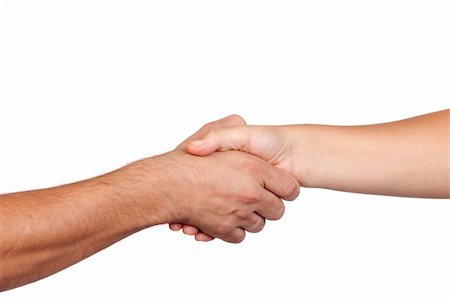 Handshake between two hands isolated on white background Stock Photo - Budget Royalty-Free & Subscription, Code: 400-05670208