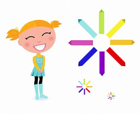 Cute cartoon girl with colorful pastels - vector Illustration Stock Photo - Budget Royalty-Free & Subscription, Code: 400-05670226