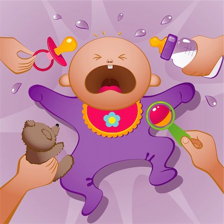 Vector illustration of crying baby. EPS 8, AI, JPEG Stock Photo - Budget Royalty-Free & Subscription, Code: 400-05670375